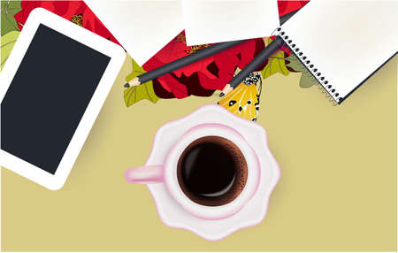 Cup of coffee, tablet, notepad and floral background