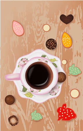 easter cookies, cup of coffee, chocolate candies