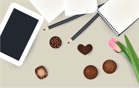 Tablet, notepad pencil flower chokolate candies
