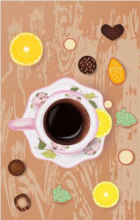easter cookies, cup of coffee, chocolate candies lemon orange Banco de Imagens