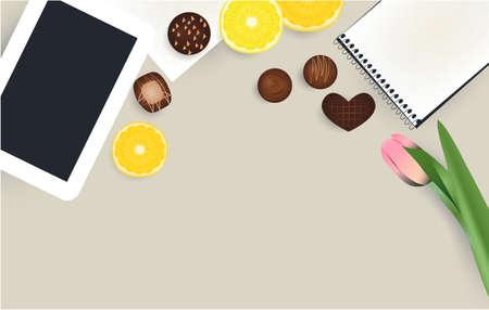 Tablet, notepad flower chokolate candies orange lemon