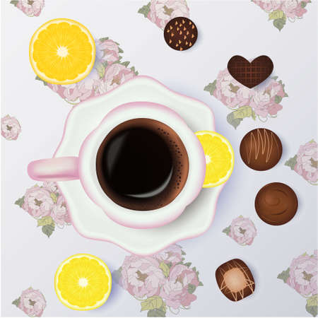 Cup of coffee, candies, orange floral background