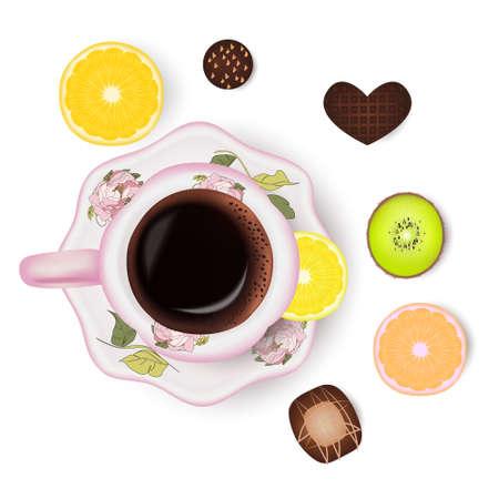 Cup of coffee, lemon, kiwi candies orange