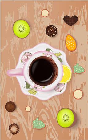 Cup of coffee, fruits, flowers candies cookies