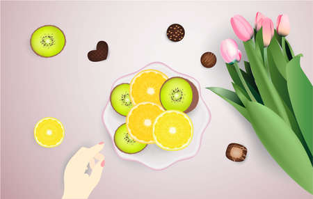 Cup of coffee, fruits, flowers candies plate
