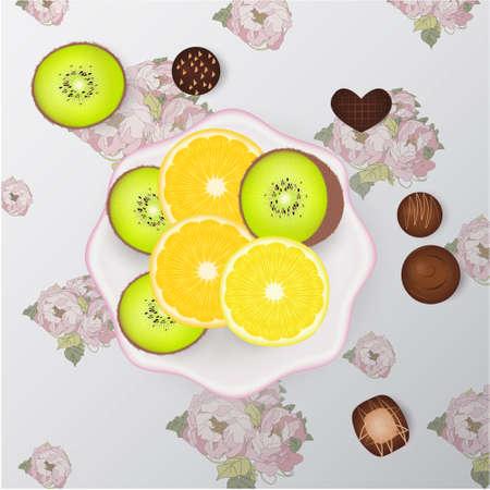 Plate, lemon. kiwi orange chocolate candies flowers 版權商用圖片