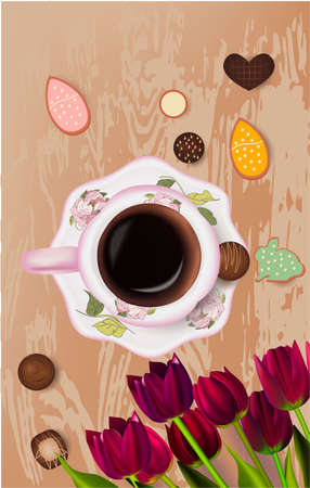 cookies, cup of coffee, chocolate tulips red