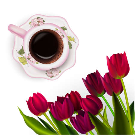 Cup of coffee, tulips work inspirational morning