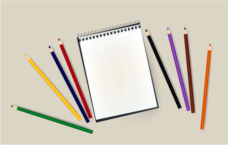 notepad, pencils, school school notebook school office 写真素材