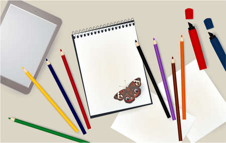 tablet, notepad, pencils notebook markers butterfly school 写真素材