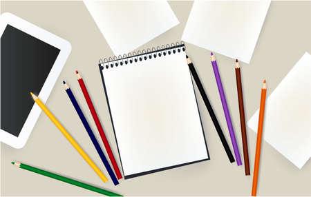 tablet, notepad, pencils school school notebook office