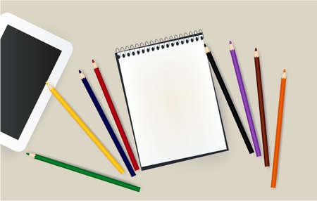 tablet, notepad, pencils school desk notebook office 写真素材