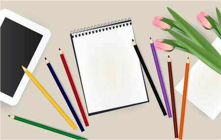 tablet, notepad, pencils school notebook flowers school 写真素材