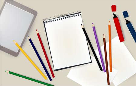 tablet, notepad, pencils notebook markers E-Book school 写真素材