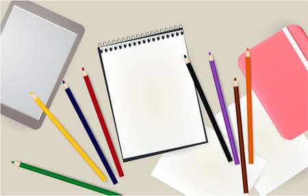 tablet, notepad, pencils notebook pink school office