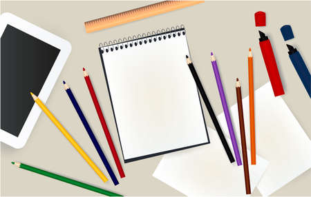 tablet, notepad, pencils office notebook markers ruler