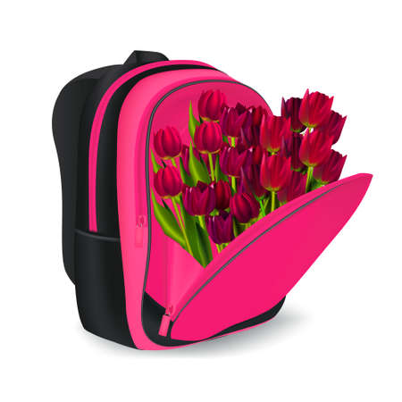 Colorful schoolbag with red tulips and white background Banco de Imagens