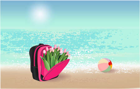 Colorful schoolbag with pink tulips ball on the beach Banco de Imagens