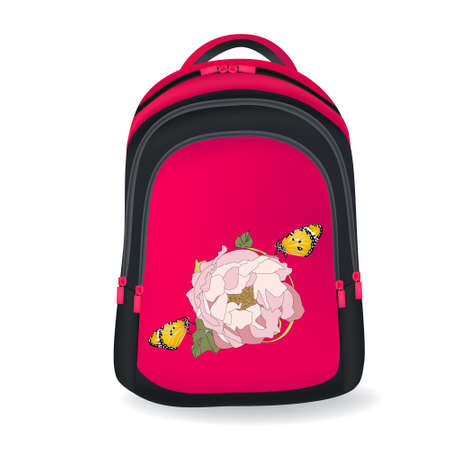 Pink bag with flower on it white background education