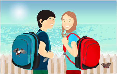 Portrait of schoolgirl and schoolboy, pupils or students with a backpack, fence and butterfly on the beach 스톡 콘텐츠