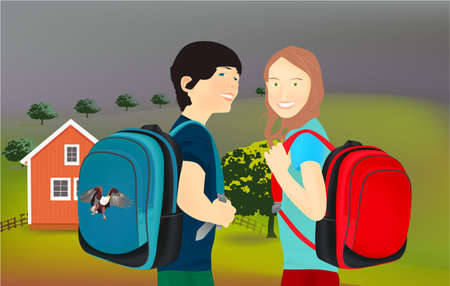 Portrait of schoolgirl and schoolboy, pupils or students with a backpack in nature, park, outdoors
