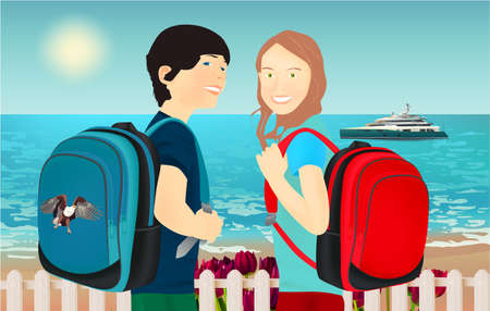 Portrait of schoolgirl and schoolboy, pupils or students with a backpack, tulips, fence and yacht on the beach
