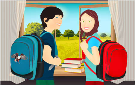 Portrait of schoolgirl and schoolboy, pupils or students with a backpack, books near the window and open window with a landscape view
