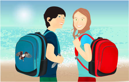 Portrait of schoolgirl and schoolboy, pupils or students with a backpack on the beach 스톡 콘텐츠