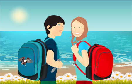 Portrait of schoolgirl and schoolboy, pupils or students with a backpack, grass, daisies and butterfly on the beach