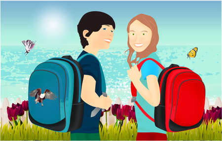 Portrait of schoolgirl and schoolboy, pupils or students with a backpack, grass, tulips, fence and butterfly on the beach 스톡 콘텐츠