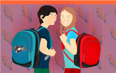 Portrait of schoolgirl and schoolboy, pupils or students with a backpack. Colored fish background