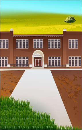 School building and empty front yard with green grass and trees landscape