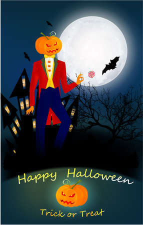 Halloween banner with text and characters - pumpkin, bats on the night background. Foggy landscape with old scary house, tree, big moon Banco de Imagens
