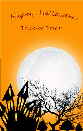Halloween banner with text on an orange background. Landscape with house, trees, big moon Banco de Imagens