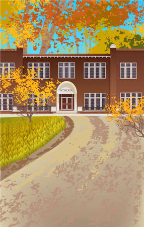 School building and empty front yard with autumn landscape
