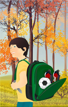 Portrait of schoolboy, pupil or student with a backpack in nature, park, outdoors.Open school backpack, ball, soccer shoes