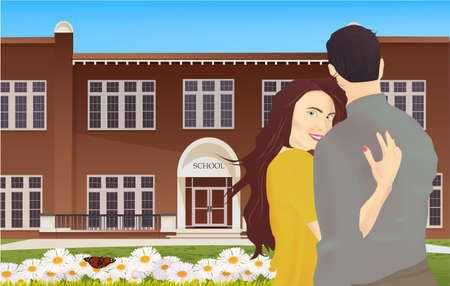 Happy romantic couple. Pair young man and woman standing together on nature background. Illustration of school building