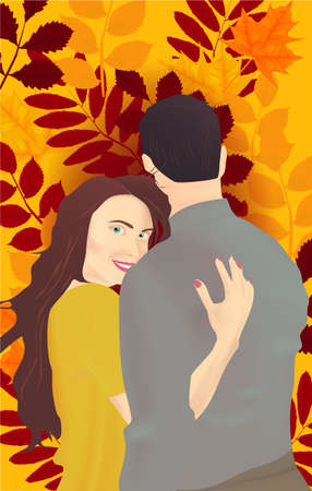 Happy romantic couple. Pair young man and woman. Autumn leaves background