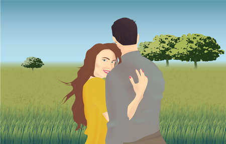 Happy romantic couple. Pair young man and woman standing together on nature background