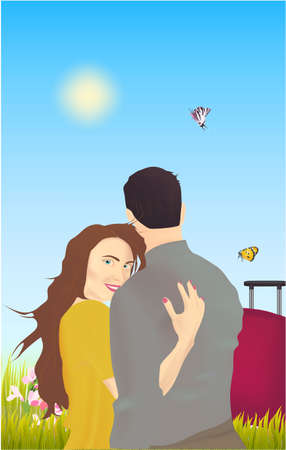 Happy romantic couple. Pair young man and woman standing together on nature background. Suitcase, flowers, butterfly and grass