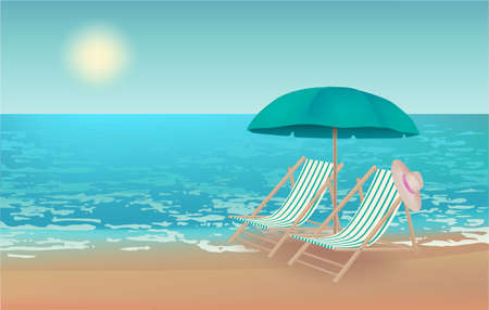 Summer background,  illustration with a view of the beach, beach chairs, hat and beach umbrella Stockfoto