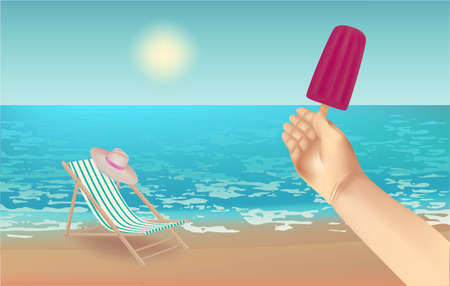 Summer background,  illustration with a view of the beach, suitcase, beach chairs, hat and beach umbrella
