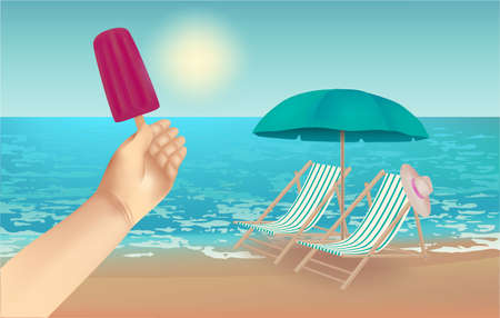 Summer background,  illustration with a view of the beach, beach chairs, hat, beach umbrella, ice cream in hand