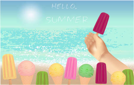 Hello summer banner with text, beach view and ice cream in hand