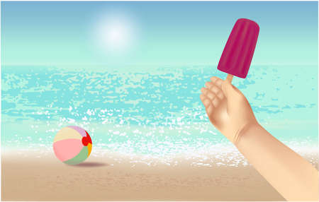 Summer background,  illustration with a view of the beach, ball, ice cream in hand