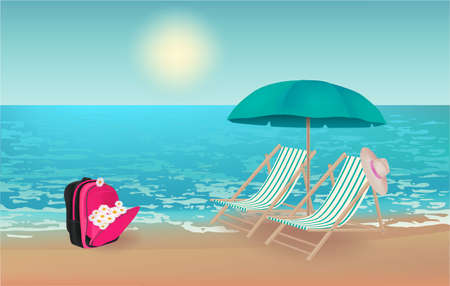 Summer background,  illustration with a view of the beach, schoolbag and daisies, beach chairs, hat and beach umbrella