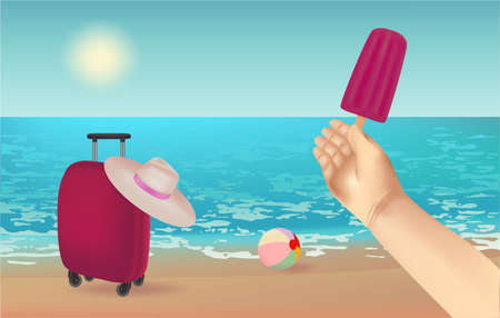 Summer background,  illustration with a view of the beach, ball, suitcase, hat, ice cream in hand Stockfoto