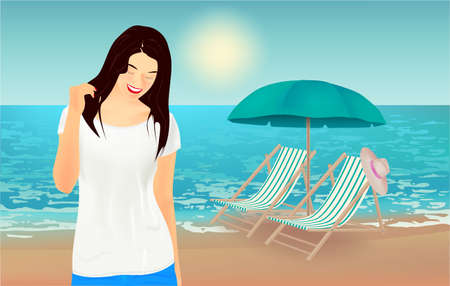 Summer background, vector illustration with a view of the beach, girl, beach chairs, hat, beach umbrella