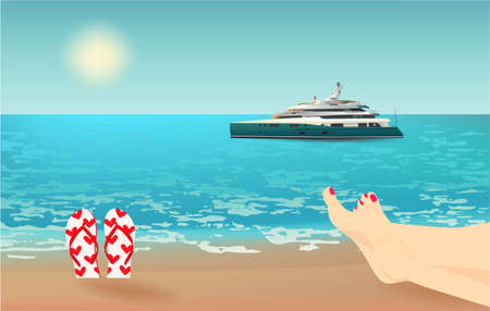 Summer background, vector illustration with a view of the beach, female legs, flip flops, yacht