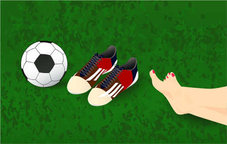 Summer background, vector illustration with female legs, ball, soccer shoes on the grass